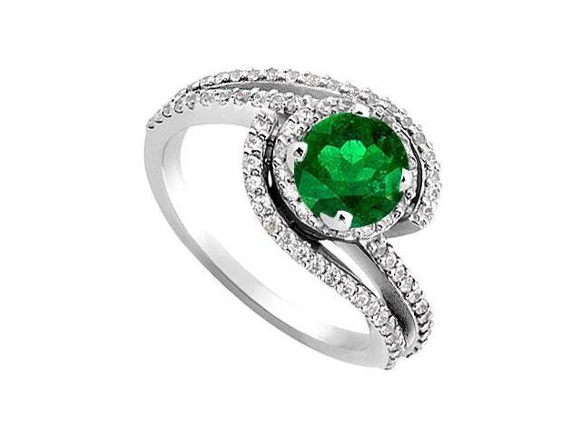 May Birthstone Created Emerald  Cz Engagement Rings in 14kt White Gold 1.10 CT TGW