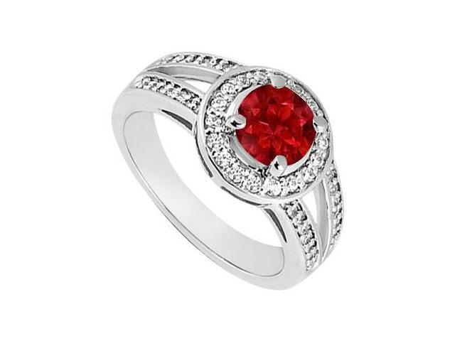 Birthstones Rubies and Cubic Zirconia Split Shank Engagement Ring 14K White Gold
