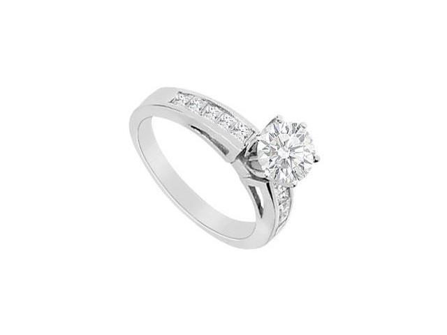 14K White Gold Round and Princess Cut Diamond Engagement Ring with 1.00 Carat Diamonds
