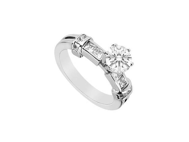 Princess Cut and Round Diamond Engagement Ring in 14K White Gold 1.00 Carat Diamonds