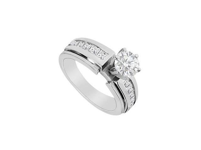 Engagement Ring Diamond Princess Cut in 14K White Gold 1.25 Carat Diamonds