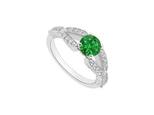 May Birthstone Emerald  Diamond Split Shank Engagement Ring 14K White Gold 1 CT TGW