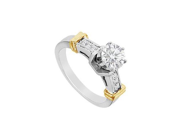 Round and Princess Cut Diamond Engagement Ring in 14K Two Tone gold 1.00 CT Diamonds