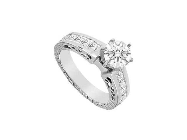 Diamond Brilliant Cut Round and Princess Cut Engagement Ring in 14K White Gold 1.40 Carat Diamon