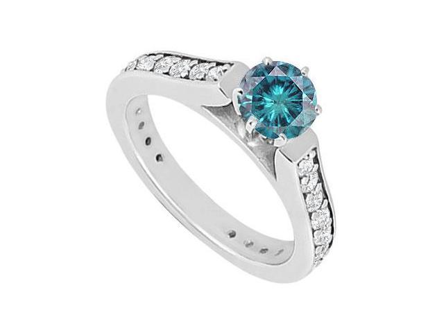 Blue and White Diamond Engagement Ring  14K White Gold 1.00 CT Diamonds