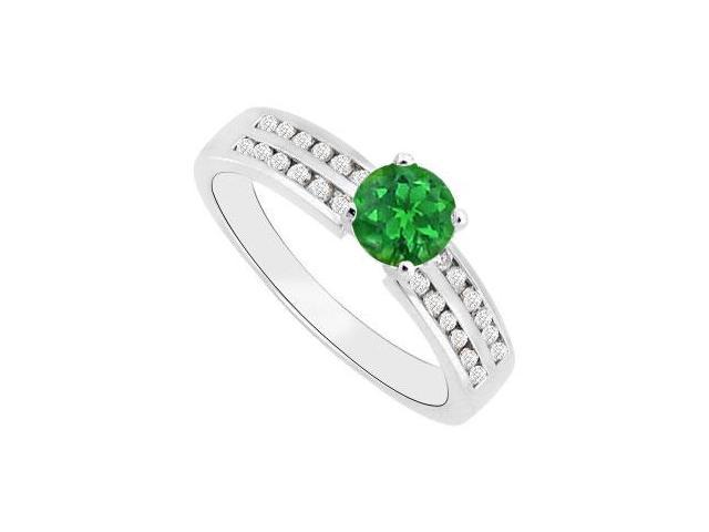 May Birthstone Created Emerald and CZ Engagement Rings 14K White Gold 1.00 CT TGW