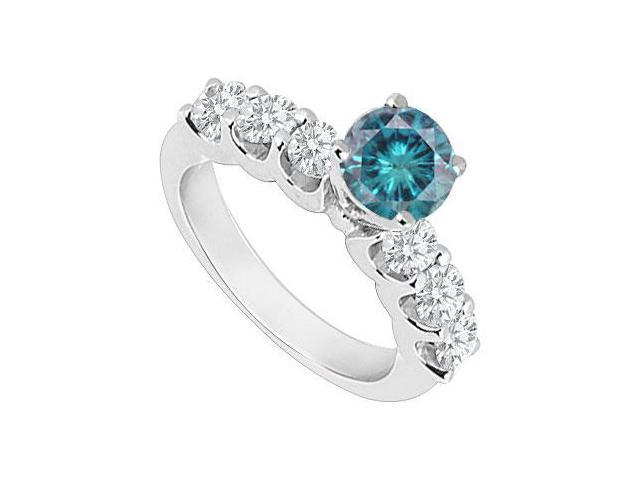 14K White Gold  Blue and White Diamond Engagement Ring 0.80 CT TDW