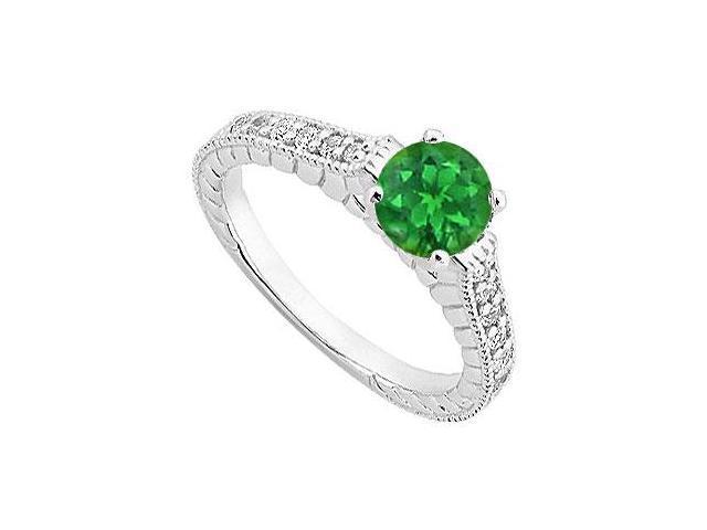 May Birthstone Created Emerald  CZ Milgrain Engagement Rings 14K White Gold 1.00 CT.TGW