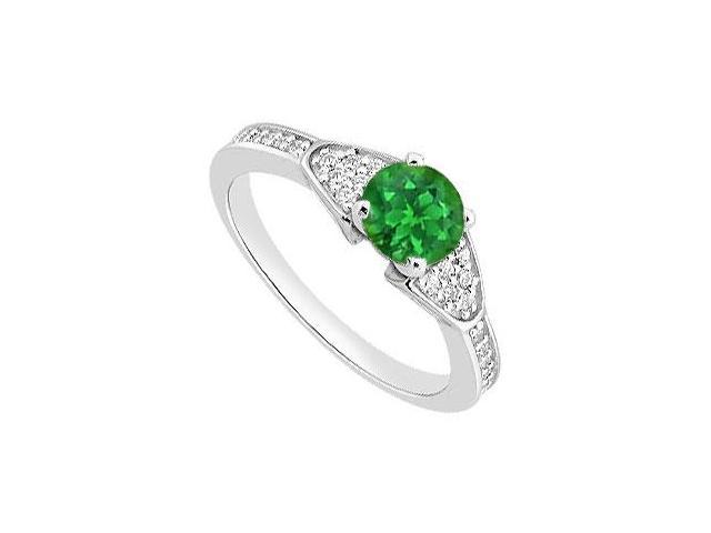 May Birthstone Green Emerald  and Diamond Engagement Ring in 14K White Gold 0.90 CT TGW