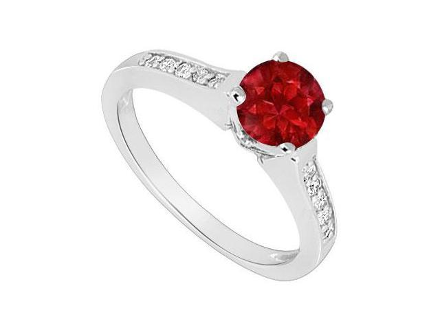 July Birthstones Rubies and Cubic Zirconia 14K White Gold Engagement Ring
