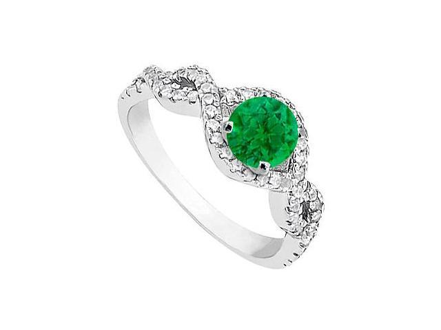May Birthstone Created Emerald and CZ Halo Engagement Rings in 14K White Gold 1.00 CT TGW