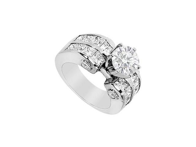 Engagement Ring Round and Princess Cut with 3.65 Carat Diamonds in 14K White Gold