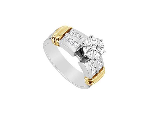 Diamond Princess Cut and Round Engagement Ring in 14K Two Tone White and Yellow Gold 1.10 CT TDW