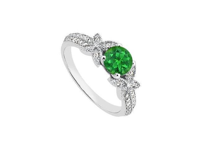 May Birthstone Natural Emerald  Diamond Engagement Rings in 14K White Gold 0.95 CT TGW
