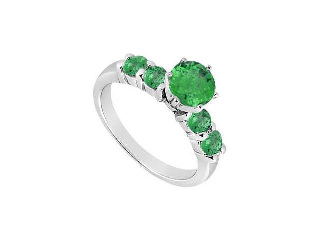 Emerald Ring  14K White Gold - 0.75 CT TGW