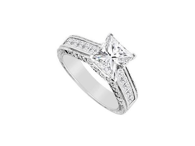 Engagement Ring Diamond Princess Cut in 14K White Gold 2.00 Carat Diamonds