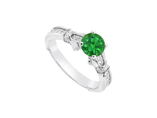 May Birthstone Green Emerald and Diamond Engagement Ring in 14K White Gold 0.85 CT TGW