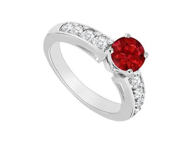 Birthstones Rubies and Cubic Zirconia Gemstones 14K White Gold Engagement Ring