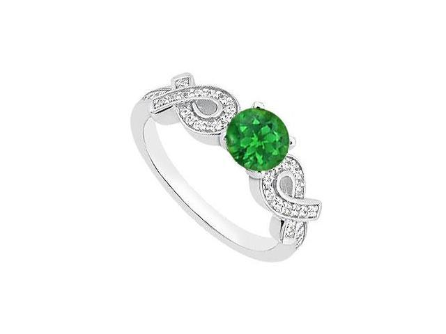 May Birthstone Natural Emerald and Diamond Ribbon Engagement Ring in 14K White Gold 0.95 CT TGW