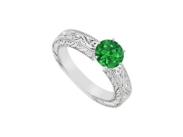Emerald Ring  14K White Gold - 0.50 CT TGW