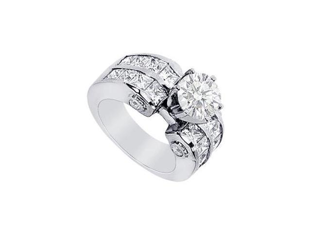 Diamond Round and Princess Cut Engagement Ring in Platinum 3.65 Carat Diamonds
