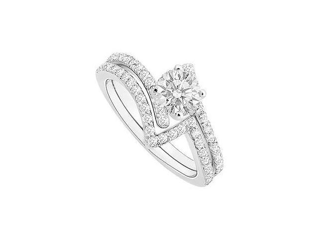 14K White Gold Semi mount Ring with Wedding Band Set with 0.50 CT Diamonds Not Center Diamond
