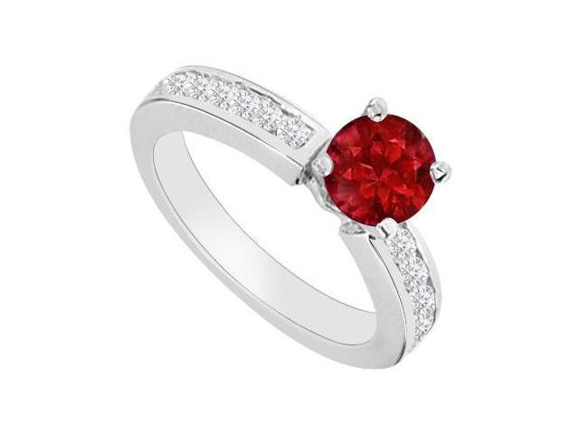Gemstones Cubic Zirconia and Birthstones Rubies Engagement Ring in 14K White Gold