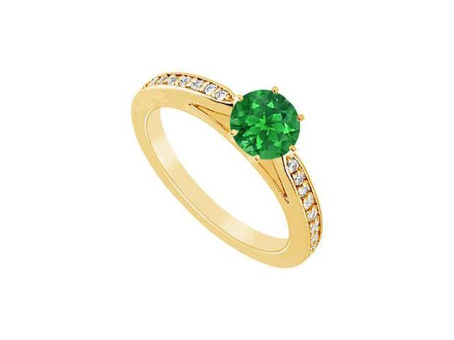 Emerald and Diamond Ring  14K Yellow Gold - 1.25 CT TGW