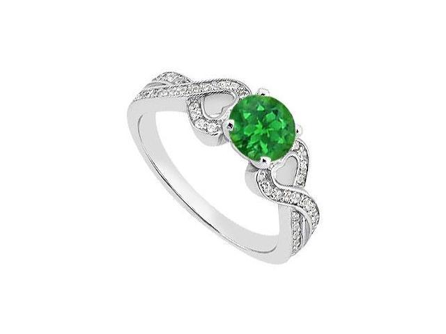 May Birthstone Green Emerald  Diamond Heart Engagement Ring in 14K White Gold 1.05 Carat TGW
