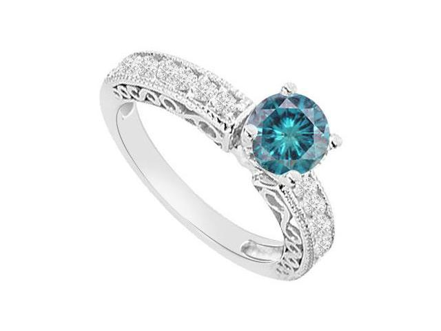 14K White Gold  Blue Diamond Engagement Ring 1.00 CT TDW