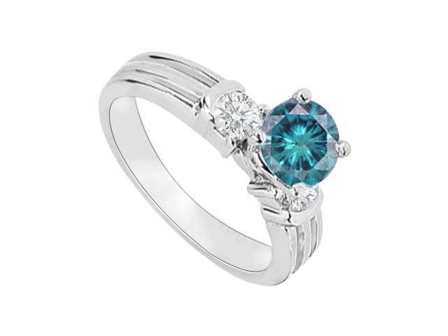 14K White Gold  Blue Diamond Engagement Ring 0.75 CT TDW