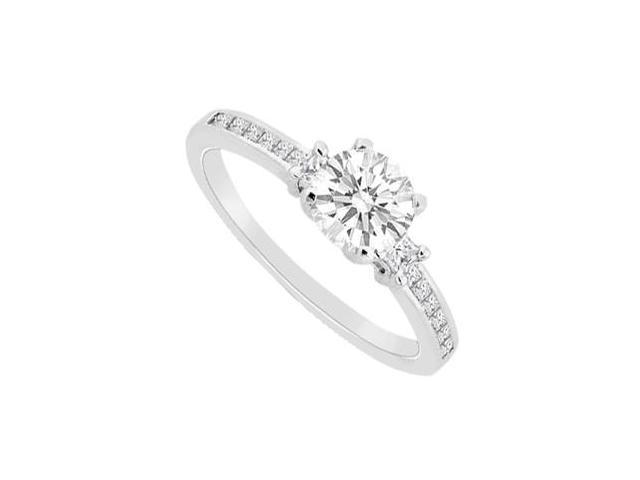 Princess Cut and Round Diamond Engagement Ring in 14K White Gold 0.75 Carat Diamonds