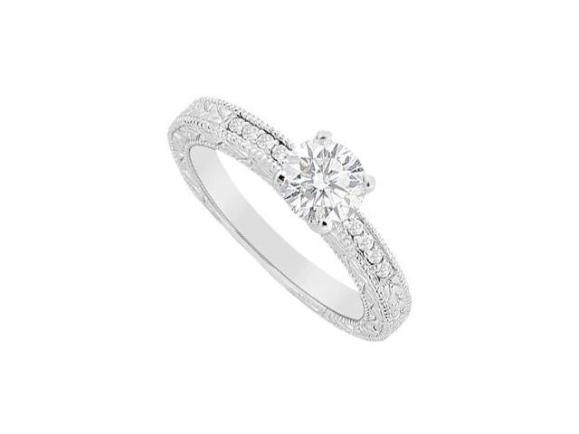 Diamond Round and Channel Set Engagement Ring in 14K White Gold 0.60 Carat Diamonds