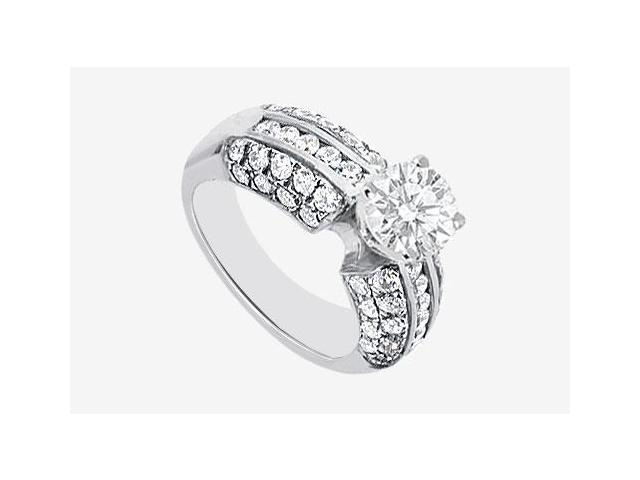 14K White Gold Semi Mount Engagement Ring with 1.30 Carat Diamonds Not Included Center Diamond