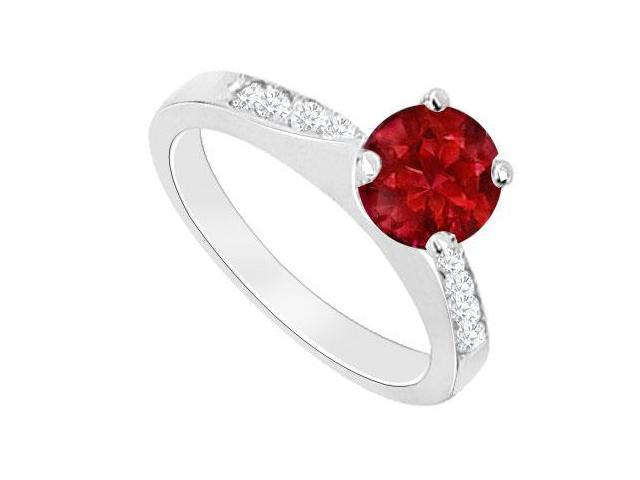 July Birthstones Engagement Ring Rubies and Cubic Zirconia White Gold 14K
