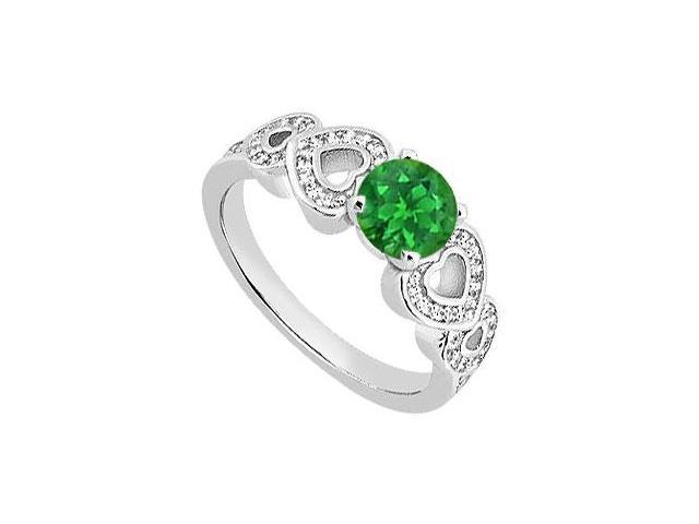 May Birthstone Green Emerald and Diamond Heart Engagement Ring in 14K White Gold 0.90 CT TGW