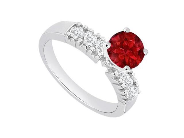 July Birthstones Engagement Ring Rubies and Cubic Zirconia White Gold 14K 1.00 CT TGW