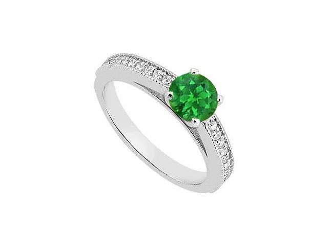 May Birthstone Natural Green Emerald  and Diamond Engagement Ring 14K White Gold 0.95 Carat TGW