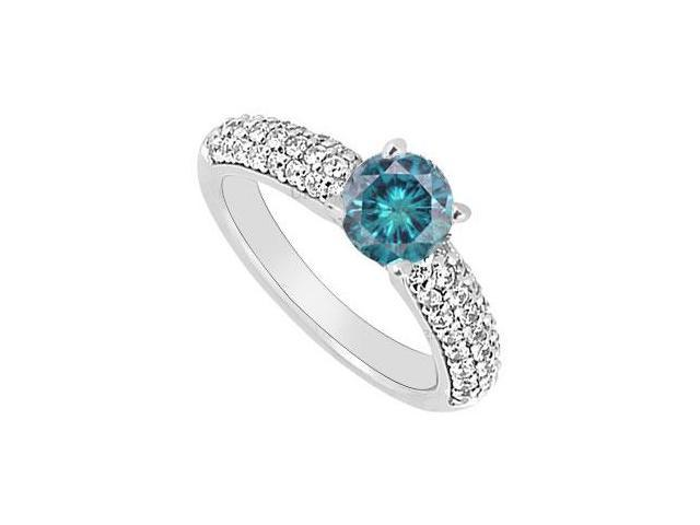 14K White Gold  Blue and White Diamond Engagement Ring 1.10 CT TDW