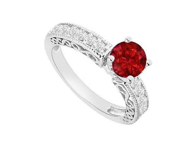 Birthstones Rubies and Cubic Zirconia Filigree Engagement Ring  14K White Gold 1.00 CT TGW