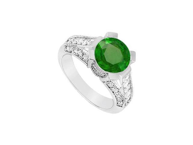 May Birthstone Created Emerald and CZ Split Shank Engagement Ring in 14kt White Gold 1 CT TGW