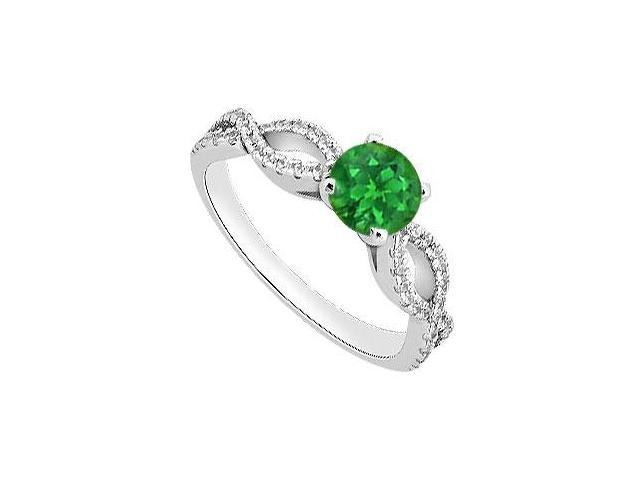 May Birthstone Created Emerald and CZ Engagement Rings 14K White Gold 1 CT TGW