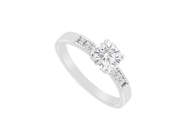 Diamond Round and Princess Cut Engagement Ring in 14K White Gold 0.60 Carat Diamonds