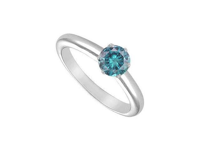 Blue Diamond Solitaire Ring  14K White Gold  0.75 CT Diamond