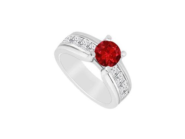 Engagement Ring Birthstones Rubies and Cubic Zirconia  Gemstones 2.00 CT in White Gold 14K