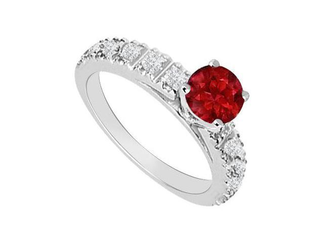 July Birthstones Rubies and Cubic Zirconia Engagement Ring White Gold 14K Gemstones 1.00 CT TGW
