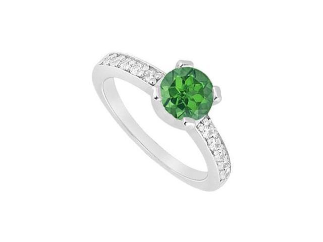 May Birthstone Created Emerald and CZ Engagement Ring in 14kt White Gold 1 CT TGW