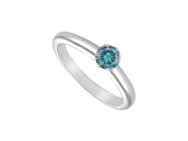 Blue Diamond Solitaire Ring  14K White Gold  0.25 CT Diamond
