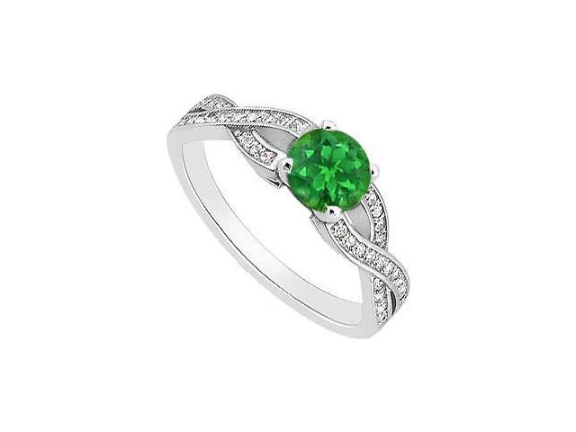 May Birthstone Emerald Engagement Ring with Diamonds in 14K White Gold 0.95 CT TGW
