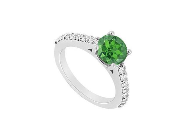 May Birthstone Four Prong Set Created Emerald  CZ Engagement Ring 14K White Gold 1 CT TGW